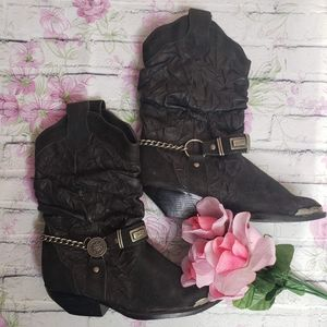 Leather Collection Slouched Cowgirl Boots